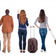 Back view of group with suitcase — Stock Photo