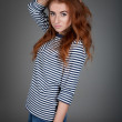 Red-haired girl with freckles in the studio. Teen girl with brig — Stock Photo