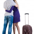 Stock Photo: Back view of traveling young couple with suitcas