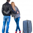 Back view of young couple traveling with suitcase. — Stockfoto #39359833