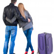 Back view of young couple traveling with suitcase. — Stockfoto #39359853