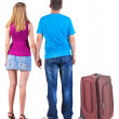 Back view of young couple traveling with suitcase. — Stockfoto #39360433