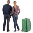Back view of young couple traveling with suitcase. — Stockfoto #39360735