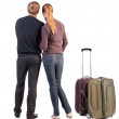 Back view of young couple traveling with suitcase. — Stockfoto #39360747