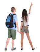 Back view of young couple looking away — Stock Photo