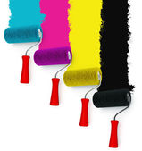 Paint roller with redecorated wall — Foto Stock