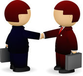 Two businessmen shaking hands — Vector de stock