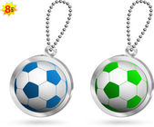 Set of two soccer balls metal trinkets. — Stock Vector