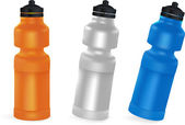 Set of blank bicycle plastic bottles for water. — Cтоковый вектор