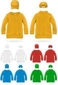 Plain shirt for kids with baseball hats. — Stock Vector