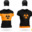 Radiation Design two-color t-shirts and baseball caps. — Stock Vector #42720489