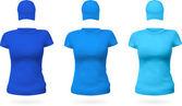 Set of women's t-shirts and baseball hats. — Stock Vector