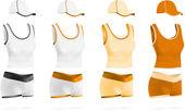 Set donna giallo bianco sport t-shirt, pantaloncini e cappello modello. — Vettoriale Stock