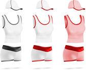 Conjunto de plantillas de mujeres deporte blanco camiseta, pantalones cortos y sombrero. — Vettoriale Stock