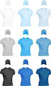 Conjunto de plantillas de camisetas y gorras de los hombres. — Vecteur