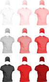 Set of men's t-shirts and hats templates. — Stock Vector
