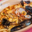 Pasta with seafood — Stock Photo