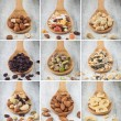 Nuts and dry fruits collage — Stock Photo