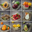 Mixed fruits collage — Stock Photo