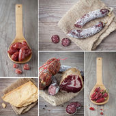 Italian salami collage — Stock Photo
