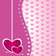 Stock Vector: Hearts от pink background
