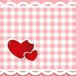 Hearts on the checkered background — Vector de stock