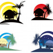 Stock Vector: Tropical huts with palm tree