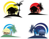 Tropical huts with palm tree — Stock Vector