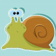 Stock Vector: Green snail