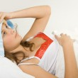 Girl in the bed expressing flu — Stock Photo #1964023