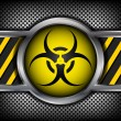 Biohazard sign on a metal background — Stock Vector