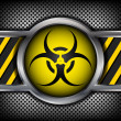Biohazard sign on a metal background — Stock Vector #13267368
