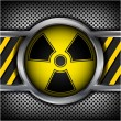 Radiation sign on a metal background — Stock Vector