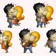 Set of five positions loving couple — Stock Vector