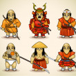 Royalty-Free Stock Vector Image: Set of six samurai