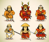 Set of six samurai — Stock Vector