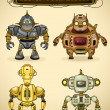 Set of four vintage robots — Stock Vector