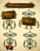 Green vintage robot devices — Stock Vector