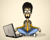 User in gray shirt and glasses with a laptop meditates — Stock Vector