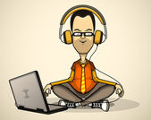 User in orange shirt and headphones with a laptop meditates — Stock Vector