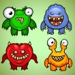 Set of four funny monsters variation 3 — Stock Vector