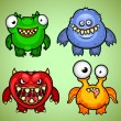 Set of four funny monsters variation 1 — Stock Vector