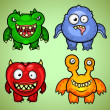 Set of four funny monsters variation 2 — Stock Vector