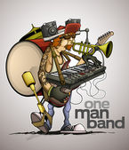 Modern one man band — Stock Vector