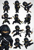 Set of 11 Ninja poses in a black suit — Stock Vector