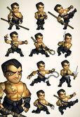 Set of 11 Ninja poses without a shirt — Stock Vector