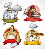 Set of four chefs in the form of sign — Stock Vector