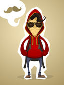 Hipster in the hood and with backpack — Stock Vector