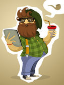 Paunchy bearded hipster with the tablet and drink — Stock Vector