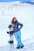 Snowboarder girl — Stock Photo